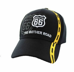 Wholesale Embroidered Logo Fashion Baseball Caps Hats - Route 66 Road Line Velcro Cap (Solid Black) - VM083-01