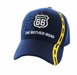 Wholesale Embroidered Logo Fashion Baseball Caps Hats - Route 66 Road Line Velcro Cap (Solid Navy) - VM083-03