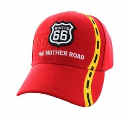 Wholesale Embroidered Logo Fashion Baseball Caps Hats - Route 66 Road Line Velcro Cap (Solid Red) - VM083-04