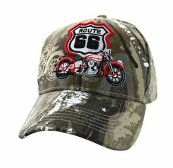 Wholesale Embroidered Logo Fashion Baseball Caps Hats - Route 66 Road Motorcycle Velcro Cap (Solid Hunting Camo) - VM086-01