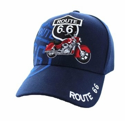 Wholesale Embroidered Logo Fashion Baseball Caps Hats - Route 66 Road Motorcycle Velcro Cap (Solid Navy) - VM086-05