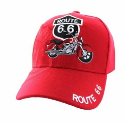 Wholesale Embroidered Logo Fashion Baseball Caps Hats - Route 66 Road Motorcycle Velcro Cap (Solid Red) - VM086-03