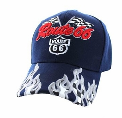 Wholesale Embroidered Logo Fashion Baseball Caps Hats - Route 66 Road Racing Flags Velcro Cap (Solid Navy) - VM256-05