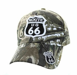 Wholesale Embroidered Logo Fashion Baseball Caps Hats - Route 66 Road Shield Velcro Cap (Solid Hunting Camo) - VM387-02