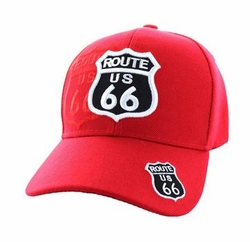 Wholesale Embroidered Logo Fashion Baseball Caps Hats - Route 66 Road Shield Velcro Cap (Solid Red) - VM387-05