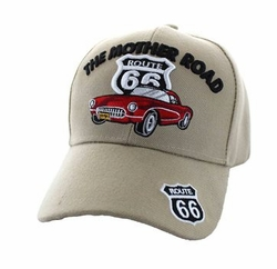 Wholesale Embroidered Logo Fashion Baseball Caps Hats - Route 66 Road The Mother Road Classic Car Velcro Cap (Solid Khaki) - V