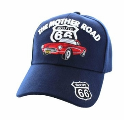 Wholesale Embroidered Logo Fashion Baseball Caps Hats - Route 66 Road The Mother Road Classic Car Velcro Cap (Solid Navy) - VM