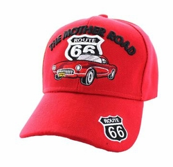 Route 66 Apparel T Shirts Wholesale Hats Caps Embroidered Baseball Logo Supplier Bulk - Route 66 Road The Mother Road Classic Car Velcro Cap (Solid Red) - VM2
