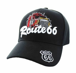 Wholesale Embroidered Logo Fashion Baseball Caps Hats - Route 66 Road Truck Velcro Cap (Solid Black) - VM377-01