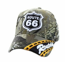 Wholesale Embroidered Logo Fashion Baseball Caps Hats - Route 66 Road Velcro Cap (Solid Hunting Camo) - VM296-05