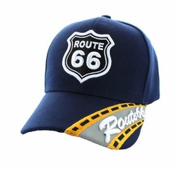 Wholesale Embroidered Logo Fashion Baseball Caps Hats - Route 66 Road Velcro Cap (Solid Navy) - VM296-03
