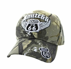 Wholesale Embroidered Logo Fashion Baseball Caps Hats - Route 66 Road Wings Velcro Cap (Solid Hunting Camo) - VM318-04