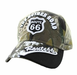 Wholesale Embroidered Logo Fashion Baseball Caps Hats - Route 66 Velcro Cap (Solid Hunting Camo) - VM170-01