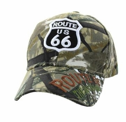 Wholesale Embroidered Logo Fashion Baseball Caps Hats - Route 66 Velcro Cap (Solid Hunting Camo) - VM564-05