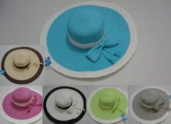 Wholesale Fashion Hats - HT803. Ladies Lg-Brim Sun Hat with Bow [Two-Tone]