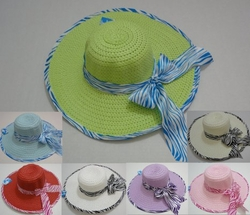 Wholesale Fashion Hats - HT804. Ladies Wide-Brimmed Hat with Zebra Print Bow & Edging