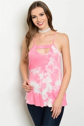 Wholesale Fashion Clothing Boutique Supplier Women's Junior Teenage - C2-B-3-BT7250 PINK TIE DYE TOP 2-2-2