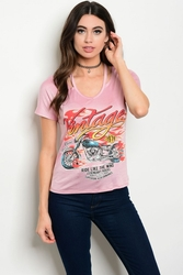 Wholesale Apparel Bulk Cheap Discount Biker T Shirts, Clothing - C30-B-6-T8629 DUSTY PINK VINTAGE PRINT TOP 2-2-2