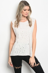 Wholesale Fashion Clothing Boutique Supplier Women's Junior Teenage - C34-B-5-T1299M36 LIGHT GREY TOP 3-2-1