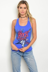 Wholesale Fashion Clothing Boutique Supplier Women's Junior Teenage - C35-B-6-T4169 BLUE TANK TOP 2-2-2