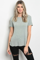 Wholesale Fashion Clothing Bulk Cheap Boutique Supplier Women's Junior Teenage - C55-B-5-T128038 LIGHT SAGE TOP 3-2-1