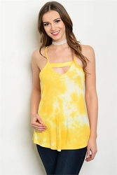 Wholesale Fashion Clothing Boutique Supplier Women's Junior Teenage - C6-B-6-BT7250 YELLOW TIE DYE TOP 2-2-2
