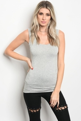 Wholesale Fashion Clothing Boutique Supplier Women's Junior Teenage - C61-B-3-T102460 LIGHT GREY TOP 3-2-1