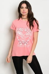 Wholesale Fashion Clothing Boutique Supplier Women's Junior Teenage - C73-B-1-TT4255 PINK WITH PRINT GRAPHIC TEE TOP 2-2-2