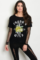 Wholesale Fashion Clothing Boutique Bulk Cheap Supplier Women's Junior Teenage - C85-B-4-T4238 BLACK WITH PRINT MESH GRAPHIC TEE TOP 2-2-2