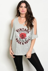 Wholesale Fashion Clothing Boutique Supplier Women's Junior Teenage - C88-B-1-TT4383 GRAY WITH PRINT GRAPHIC TEE TOP 2-2-2