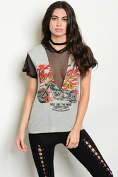 Wholesale Fashion Clothing Boutique Supplier Women's Junior Teenage - C91-B-3-T4325 GRAY BLACK MESH GRAPHIC TEE TOP 2-2-2