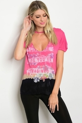 Wholesale Fashion Clothing Boutique Supplier Women's Junior Teenage - S13-7-5-T1997 PINK BLACK LIFE YOU'VE IMAGINED GRAPHIC TEE TOP 2-2-2