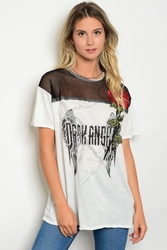 Wholesale Fashion Clothing Boutique Supplier Women's Junior Teenage - S15-1-3-T4494 OFF WHITE BLACK WITH FLOWERS GRAPHIC TEE TOP 3-2-1