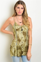 Wholesale Fashion Clothing Boutique Supplier Women's Junior Teenage - S9-4-1-T22439 OLIVE TIE DYE TOP 2-2-2