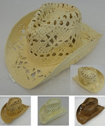 Clothing Apparel Headwear Wholesale Bulk Fashion - HT1501. Paper Straw Cowboy Hat [Large Open Weave]