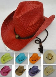 Clothing Apparel Headwear Wholesale Bulk - HT1502. Paper Straw Cowboy Hat [Medallion]