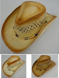 Clothing Apparel Headwear Wholesale Bulk - HT1506. Paper Straw Cowboy Hat [Open Weave Beaded Hat Band]