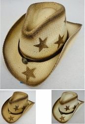 Clothing Apparel Headwear Wholesale Bulk Fashion - HT1510. Paper Straw Cowboy Hat [Stars]