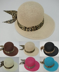 Wholesale Products - Clothing Apparel Headwear Wholesale Bulk - Fashion Hats - HT293. Ladies Large-Brimmed Hat with Animal Print Bow