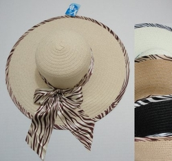 Wholesale Products - Clothing Apparel Headwear Wholesale Bulk - Fashion Hats - HT294. Ladies Wide Brimmed Hat with Zebra Print Bow