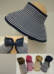 Wholesale Fashion Hats - HT295. Ladies Roll-Up Large-Brimmed Sun Visor with Bow