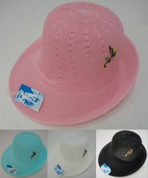 Wholesale Fashion Hats - HT328. Ladies Mesh Embroidered Derby Hat
