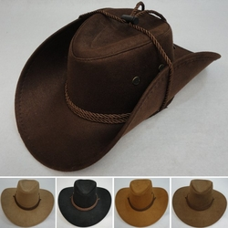 Wholesale Clothing, Apparel Headwear Wholesale Bulk - Fashion Hats - HT343. Suede-Like Cowboy Hat [Rope Hat Band]