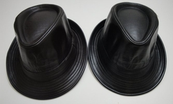 Wholesale Fashion Hats - HT432. Fedora Hat-Solid Color Leather like