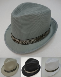 Wholesale Fashion Hats - HT611. Fedora Hat-Solid Color with Printed Hat Band