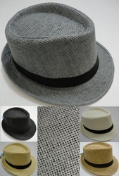 Wholesale Fashion Hats - HT808. Fedora Hat-Woven with Black Hat Band