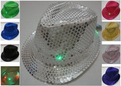 Wholesale Fashion Hats - HT820. Sequin Fedora Hat with Lights