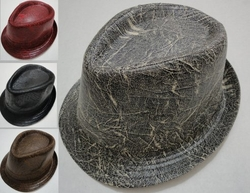 Wholesale Fashion Hats - HT825. Fedora Hat-Distressed Leather
