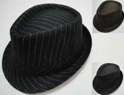 Wholesale Fashion Hats - HT826. Fedora Hat-Wool Like with Pinstripes