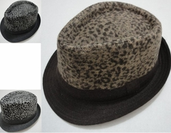 Wholesale Men's Women's Adult Fashion Hats HT827. Fedora Hat-Classic Wool Like with Animal Print